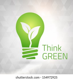 Ecology Think green bulb vector illustration. isolated from background. layered.