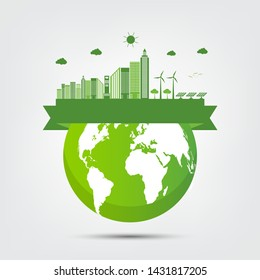 Ecology town concept and environment With Eco-Friendly Ideas,Vector Illustration