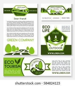 Ecology travel and green tourism vector posters and banners templates set for environment protection company, nature saving concept of forest trees, woodland park gardening and outdoor camping trip