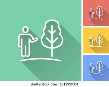 Ecology vector icon with long shadow. Illustration isolated for graphic and web design.