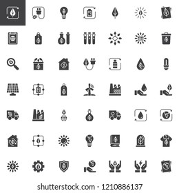 Ecology vector icons set, modern solid symbol collection filled style pictogram pack. Signs logo illustration. Set includes icons as Green leaf, Eco Plug, Light bulb, Solar panel, Battery, Environment