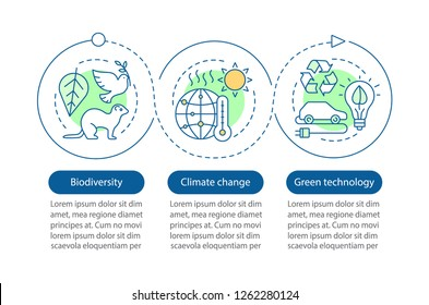 Ecology vector infographic template. Climate changing, biodiversity, green technology. Data visualization with three steps and options. Process timeline chart. Workflow layout