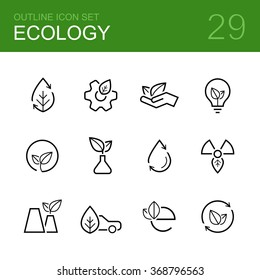 Ecology vector outline icon set - leaf, leaves, palm, bulb, wheel, plant, sprout, tube, car and others symbols