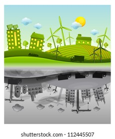 ecology versus pollution vector background