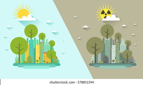 Ecology vs Nuclear radiation concept. Ecological green city vs nuclear disaster. Sun with radiation sign on sky clouds backgrounds. Vector colorful illustration in flat design style