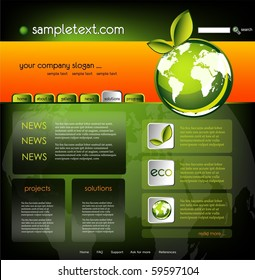 Ecology website template, vector