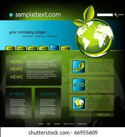 Ecology website template, vector