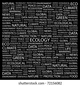 ECOLOGY. Word collage on black background. Vector illustration. Illustration with different association terms.