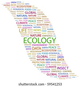ECOLOGY. Word collage on white background. Illustration with different association terms.