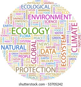 ECOLOGY. Word collage. Vector illustration.