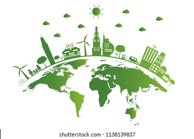 Ecology.Green cities help the world,earth with eco-friendly concept ideas.vector illustration