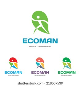 EcoMan - vector logo template concept illustration. Human character figure on green leaf. Ecology and bio product creative sign. Nature symbol.