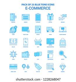 E-Commerce Blue Tone Icon Pack - 25 Icon Sets