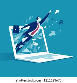 E-commerce Breakthrough.  Businessman breaks surface of laptop monitor. Business vector illustration.
