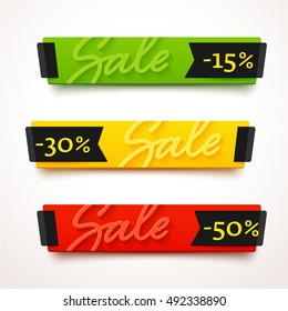 Ecommerce bright vector banner. Nice plastic cards in material design style. Transparent blue, green and yellow papers with black ribbons.