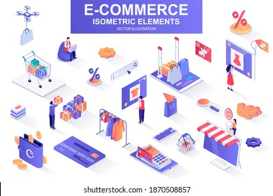 E-commerce bundle of isometric elements. Internet marketplace, atm terminal, online shopping, credit card payment, digital wallet isolated icons. Isometric vector illustration with people characters.