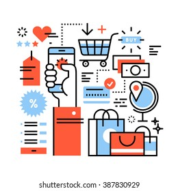 Ecommerce business concept. Purchasing goods in internet store via smart phone, online shopping, worldwide order delivery and payment. Thin line art flat illustration with icons.