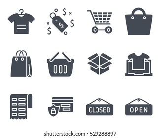 ecommerce business finance shop shopping icon vector illustration solid glyph set pack silhouette