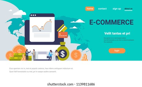 e-commerce business money graph growth wealth concept dollar coin icon people finance ecommerce analysis over world map background flat horizontal copy space vector illustration