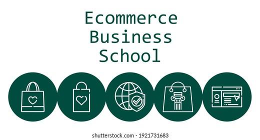 ecommerce business school background concept with ecommerce business school icons. Icons related shopping bag, website, internet
