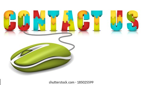 E-commerce concept with computer mouse and words made of puzzle.Vector illustration.