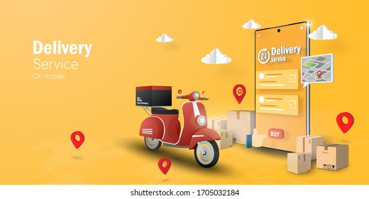 E-commerce concept, Delivery service on mobile application, Transportation or food delivery by scooter Web banner with copy space