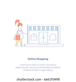 E-commerce Concept with Doodle design style: Online Shopping, Online Store Purchases. Laptop with Internet Shop and Purchaser. Isolated vector illustration in trendy light linear style.