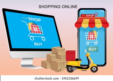 Ecommerce concept Online shopping. Online courier service concept Fast delivery by scooter via mobile phone. Vector illustration.