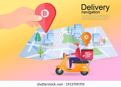 Ecommerce concept. Online shopping. Online delivery service concept. Fast delivery by scooter via mobile phone. Man riding motorcycle. Vector illustration.