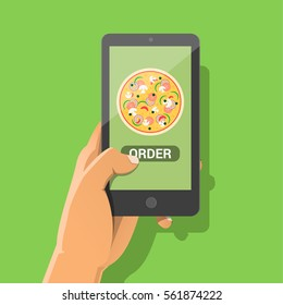 Ecommerce concept: order fast food online. Hand holding smartphone with pizza and button on screen. Vector flat cartoon illustration for advertisement, web sites, banners design. Delivery service.