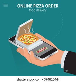 Ecommerce concept: order food online website. Fast food pizza delivery online  service. Flat isometric vector illustration. Can be used for advertisement, infographic,  game or mobile apps icon.