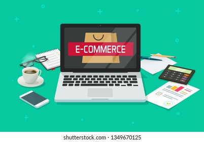 Ecommerce concept vector, working table desk with laptop computer analyzing online internet store, office desktop, e-commerce analytics market research, electronic shop top view work place flat 3d