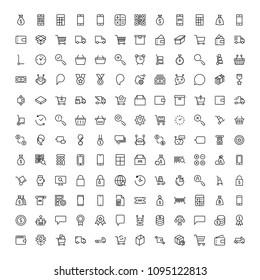 E-commerce flat icon set . Single high quality outline symbol of info for web design or mobile app. Thin line signs for design logo, visit card, etc. Outline logo of e-commerce
