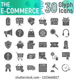 E-commerce glyph icon set, shopping symbols collection, vector sketches, logo illustrations, buy signs solid pictograms package isolated on white background, eps 10.