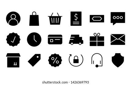 e-commerce glyph icon symbol set