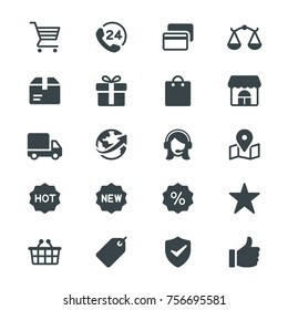 E-commerce glyph icons