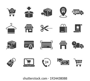 Ecommerce Icon Set Glyph icon, solid style online shopping, Bag, shop Add cart trolley, fast shipping truck logistic Hanger towel  Vector illustration design on white background EPS 10