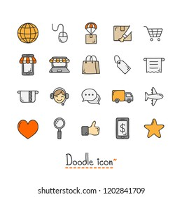 E-Commerce Icon Set. Hand Drawn Doodle Icon.