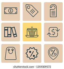E-commerce icons set with online shopping, sales location, badge and other rebate sign  elements. Isolated vector illustration e-commerce icons.