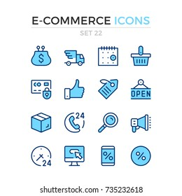 E-commerce icons. Vector line icons set. Premium quality. Simple thin line design. Modern outline symbols, pictograms.