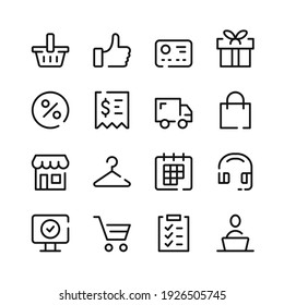 Ecommerce icons. Vector line icons. Simple outline symbols set