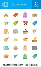 E-commerce Iconset. Can also be used for shopping, online marketing, sales. Suitable for use on web apps, mobile apps, and print media.