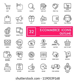 E-commerce with inscription line icon set, store symbols collection, vector sketches, logo illustrations, shop signs linear pictograms package isolated on white background, eps 10