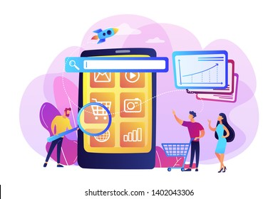 Ecommerce, internet shopping promotion campaign. Mobile media optimization, mobile SEO strategy, targeted communication channel concept. Bright vibrant violet vector isolated illustration