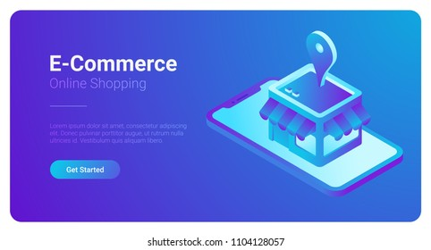 E-commerce isometric vector illustration. Web Shop Store in Smartphone.