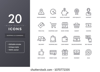 E-commerce line icons. Shopping and sales icon set with editable stroke
