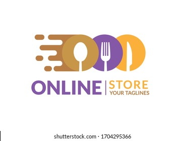 E-commerce logo Delivery food sign