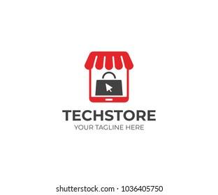 E-commerce logo template. Tablet store and shopping bag vector design. Digital market illustration