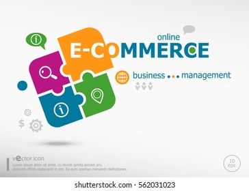 E-commerce and marketing concept on colorful jigsaw puzzle. Infographic business for graphic or web design layout