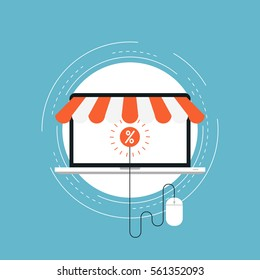 E-commerce and m-commerce flat vector illustration design. Online shopping, e-banking, discounts, sales, wire transfers, m-banking, money management business concepts. Design for web banners and apps